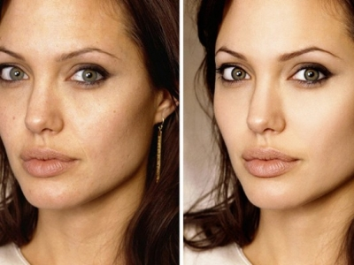 Одни и те же фото звезд до и после ретуши в Фотошоп.